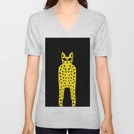 Leopard in Dark Glasses - Cool Cat Dude! Unisex V-Neck