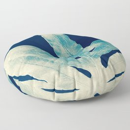 Green Fern at Midnight Bright, Navy Blue Floor Pillow