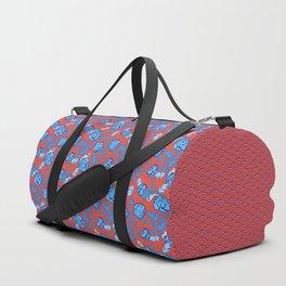 Peonies Oriental Ceramic on Salmon Pink Duffle Bag