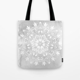 white on gray mandala design Tote Bag