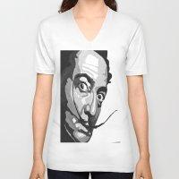 salvador dali V-neck T-shirts featuring Salvador Dali by Frankie Luna III