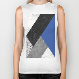 Black and White Marbles and Pantone Lapis Blue Color Biker Tank