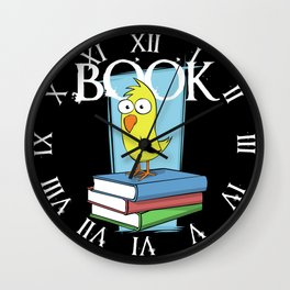 Book (white txt) Wall Clock