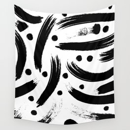 Black & White Paint Strokes Pattern Wall Tapestry