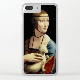 """Leonardo Da Vinci """"Portrait of Cecilia Gallerani (Lady with the Ermine)"""" Clear iPhone Case"""