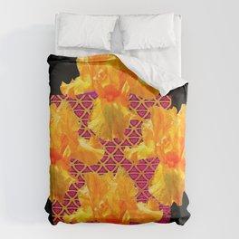 Golden Spring Iris Patterned Black  Decor Duvet Cover