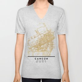 CANCUN MEXICO CITY STREET MAP ART Unisex V-Neck