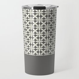 Pantone Cannoli Cream Square Petal Pattern on Pantone Pewter Travel Mug
