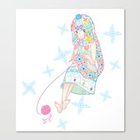 knitting Canvas Prints featuring Knitting  by Moonsia