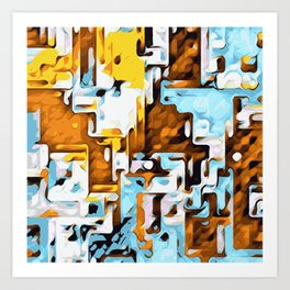 yellow brown and blue Art Print