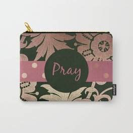 Black and Rose Gold  Floral with Mauve Ribbon PRAY Carry-All Pouch
