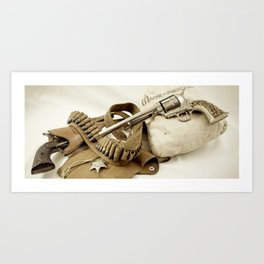 Guns Of The Old West - Colt .45, #2, Sepia Art Print