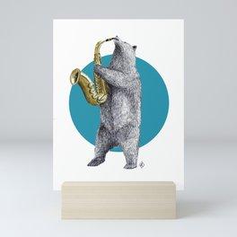 saxophone bear Mini Art Print