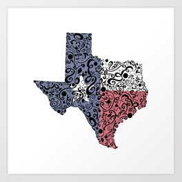 Texas - Hand Sketched Doodle Art Art Print