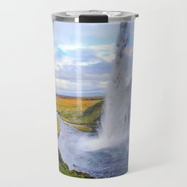 Behind Seljalandsfoss Waterfall in Iceland (1) Travel Mug