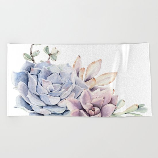 Pristine Succulents Blue and Pink Beach Towel