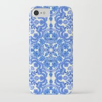 bedding iPhone & iPod Cases featuring Cobalt Blue & China White Folk Art Pattern by micklyn