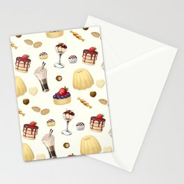 Sweet pattern with various desserts. Stationery Cards