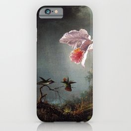 Two Fighting Hummingbirds With Two Orchids 1875 By Martin Johnson Heade | Reproduction iPhone Case