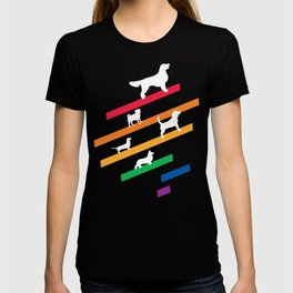 Cosmic Rainbow Dogs - Stripes and Silhouettes T-shirt