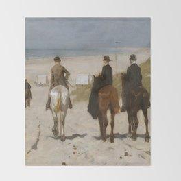 Morning Ride On The Beach - Anton Mauve Throw Blanket