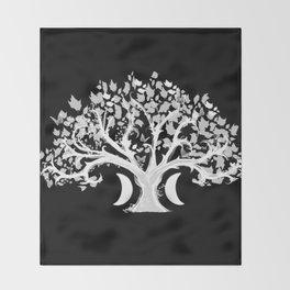 The Zen Tree - White on Black Throw Blanket