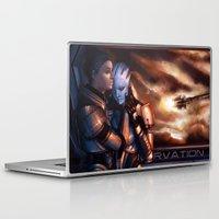mass effect Laptop & iPad Skins featuring Mass Effect - Memories by Amber Hague