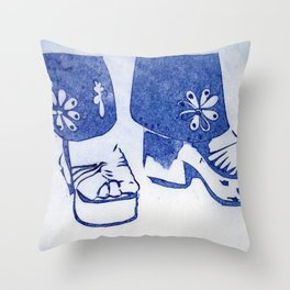 Blue Retro Sandals Throw Pillow