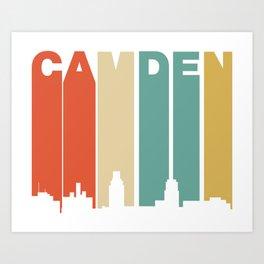 Retro 1970's Style Camden New Jersey Skyline Art Print