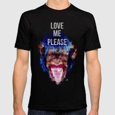 Monkey need love MEDIUM Black Mens Fitted Tee