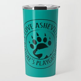 I Love Asheville - Black Bear - AVL 15 Green Travel Mug