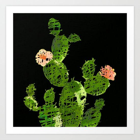 weird cactus black version Art Print