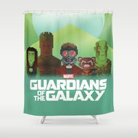 guardians of the galaxy Shower Curtains featuring Guardians of the Galaxy by Casa del Kables