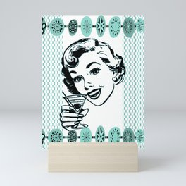 Mid-Century Modern Art Cocktail Teal Mini Art Print