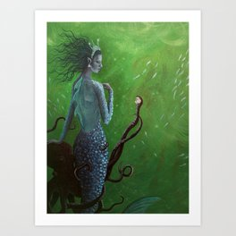 The Mermaid and the Octopus Art Print