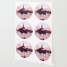 Seoul Tower with Cherry Blossoms Woodblock Style Souvenir Print Wallpaper