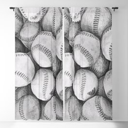 Bucket of Baseballs in Black and White Blackout Curtain
