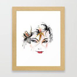 Cheeky Beauty and Orchids Framed Art Print