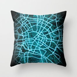 Berlin, Germany, Blue, White, Neon, Glow, City, Map Throw Pillow