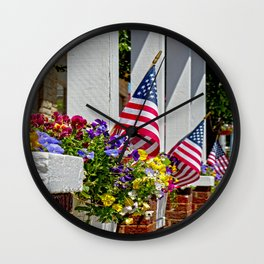 Flags & Flowers Wall Clock