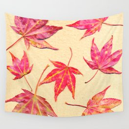Japanese maple leaves - coral red on pale yellow Wall Tapestry