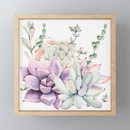 Succulents Mint and Purple by Nature Magick Framed Mini Art Print