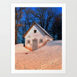 Small cottage in winter wonderland | architectural photography Art Print