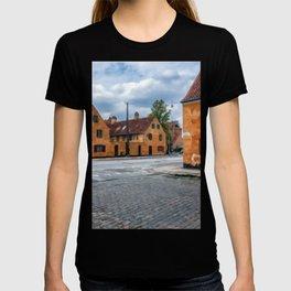 Digital Illustration of the Orange Homes of Central Copenhagen, Denmark T-shirt