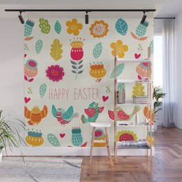 Ivory teal orange floral birds Happy Easter typography Wall Mural