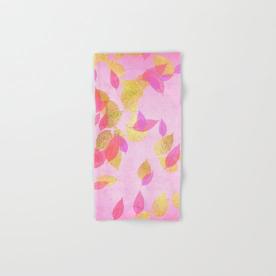 Autumn-world 5 - gold leaves on pink backround Hand & Bath Towel