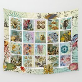 Undersea Garden Postal Collage Wall Tapestry