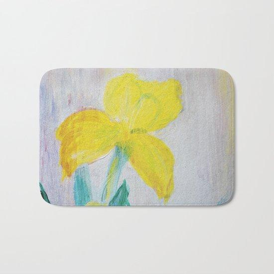 yellow summer iris Bath Mat