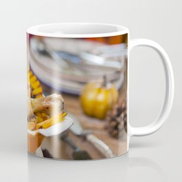 II - Oven roasted chicken with grilled pumpkin on a rustic table Coffee Mug