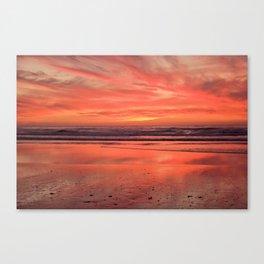 Sky on  Fire - At the Beach Canvas Print